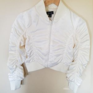 Seductions crop zippered rushed jacket